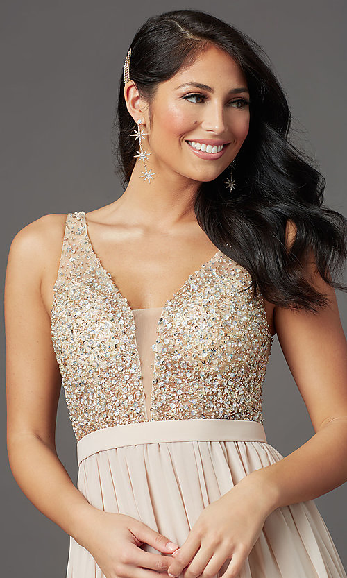 Image of beaded-bodice long sleeveless formal prom dress. Style: SOI-W19236 Detail Image 5