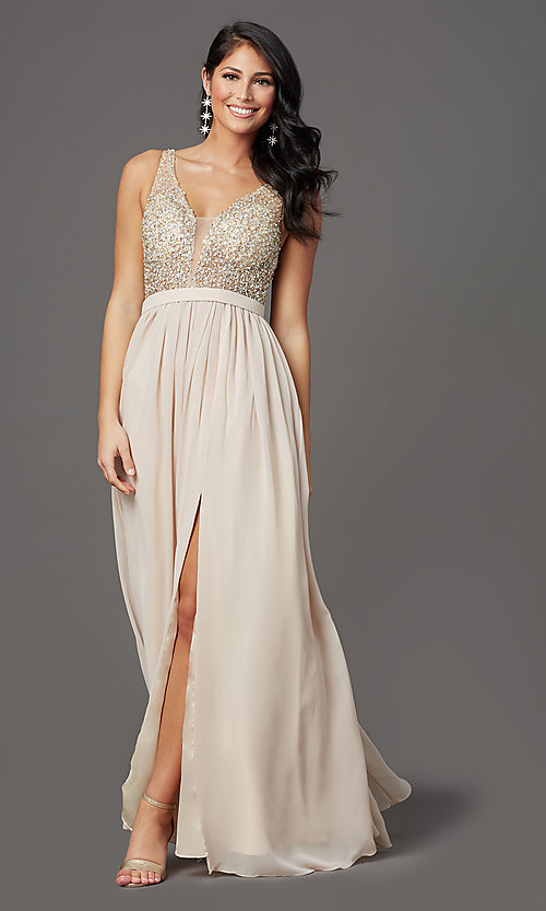 Image of beaded-bodice long sleeveless formal prom dress. Style: SOI-W19236 Detail Image 6
