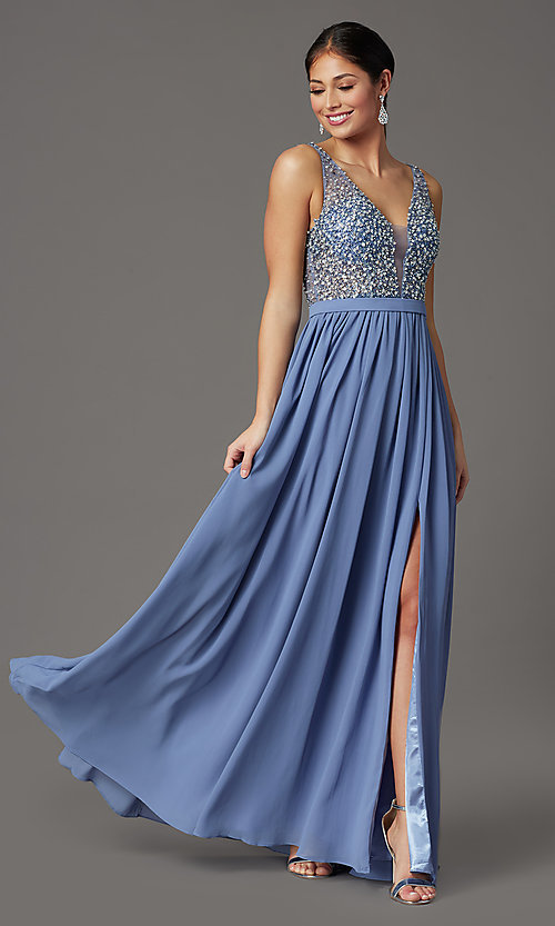 Image of beaded-bodice long sleeveless formal prom dress. Style: SOI-W19236 Front Image