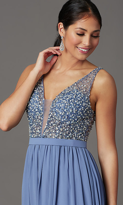 Image of beaded-bodice long sleeveless formal prom dress. Style: SOI-W19236 Detail Image 1