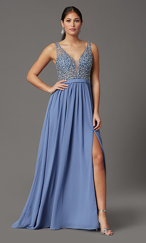Image of beaded-bodice long sleeveless formal prom dress. Style: SOI-W19236 Detail Image 2