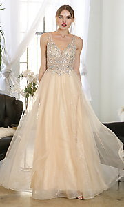 Image of beaded-bodice long formal prom dress in mauve pink. Style: SOI-W19266 Detail Image 5