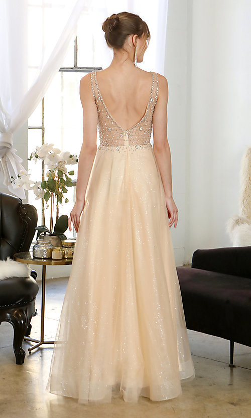 Image of beaded-bodice long formal prom dress in mauve pink. Style: SOI-W19266 Detail Image 6