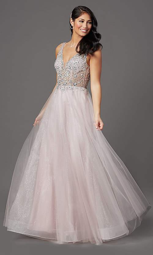 Image of beaded-bodice long formal prom dress in mauve pink. Style: SOI-W19266 Front Image