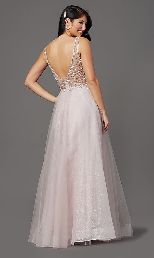 Image of beaded-bodice long formal prom dress in mauve pink. Style: SOI-W19266 Back Image