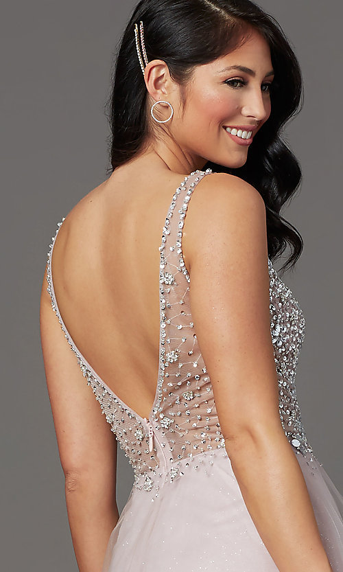 Image of beaded-bodice long formal prom dress in mauve pink. Style: SOI-W19266 Detail Image 2
