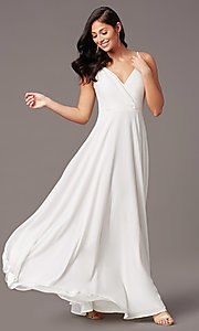 Image of chiffon long formal prom dress with pleated bodice. Style: SOI-M19156 Detail Image 3