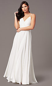 Image of chiffon long formal prom dress with pleated bodice. Style: SOI-M19156 Detail Image 6