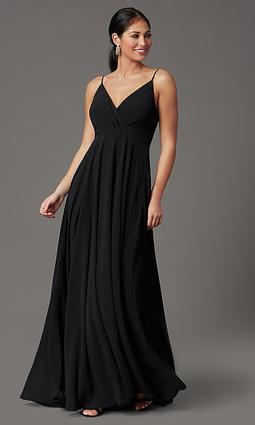 Image of chiffon long formal prom dress with pleated bodice. Style: SOI-M19156 Front Image