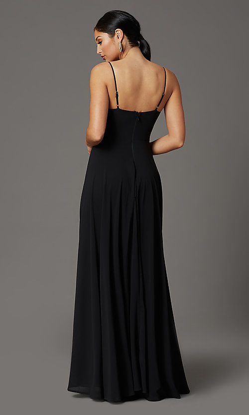 Image of chiffon long formal prom dress with pleated bodice. Style: SOI-M19156 Back Image
