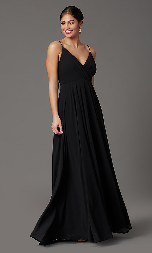 Image of chiffon long formal prom dress with pleated bodice. Style: SOI-M19156 Detail Image 2