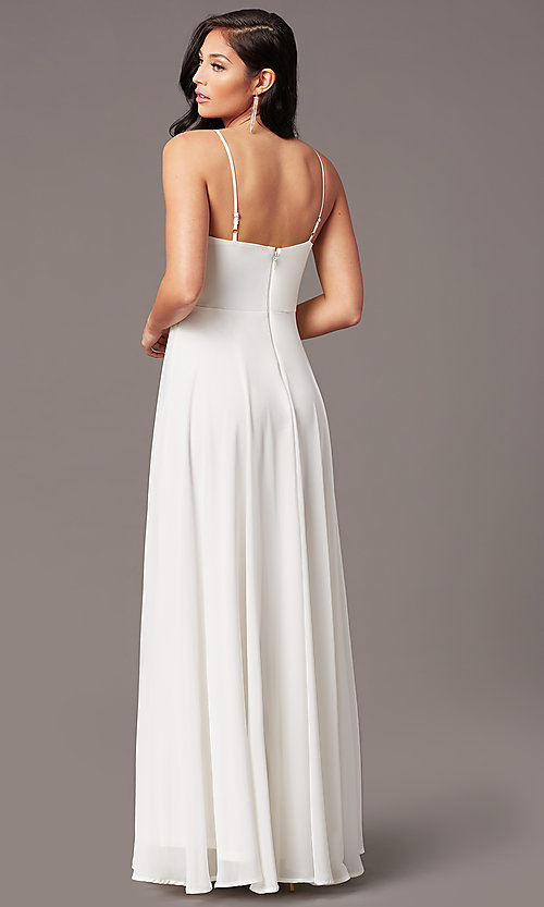Image of chiffon long formal prom dress with pleated bodice. Style: SOI-M19156 Detail Image 4