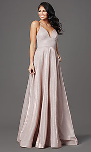 Image of long sleeveless glitter prom dress with pockets. Style: SOI-W19290 Front Image