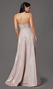 Image of long sleeveless glitter prom dress with pockets. Style: SOI-W19290 Back Image