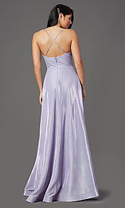 Image of long sleeveless glitter prom dress with pockets. Style: SOI-W19290 Detail Image 7