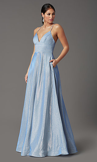 Long Sleeveless Glitter Prom Dress with Pockets