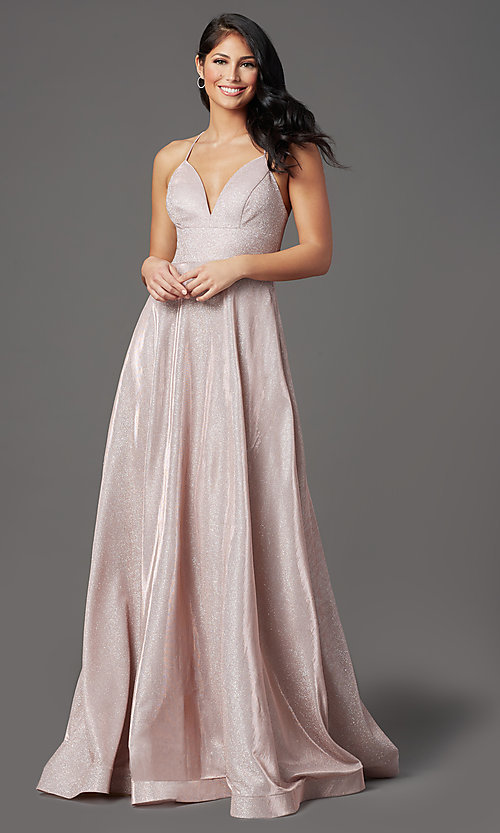 Image of long sleeveless glitter prom dress with pockets. Style: SOI-W19290 Detail Image 2