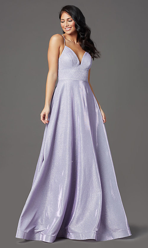 Image of long sleeveless glitter prom dress with pockets. Style: SOI-W19290 Detail Image 6