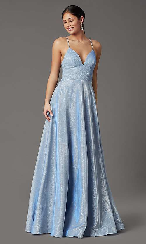 Image of long sleeveless glitter prom dress with pockets. Style: SOI-W19290 Detail Image 5