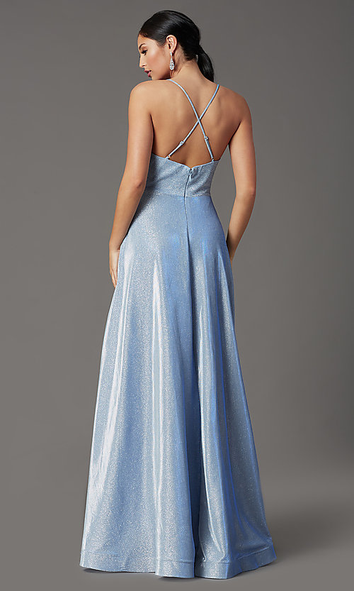 Image of long sleeveless glitter prom dress with pockets. Style: SOI-W19290 Detail Image 4