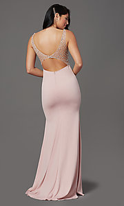 Image of beaded-illusion-bodice long formal prom dress. Style: SOI-W19150 Detail Image 4