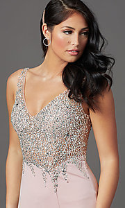 Image of beaded-illusion-bodice long formal prom dress. Style: SOI-W19150 Detail Image 5