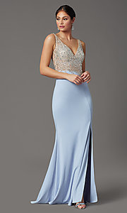 Image of beaded-illusion-bodice long formal prom dress. Style: SOI-W19150 Detail Image 2