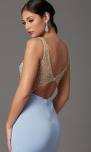 Image of beaded-illusion-bodice long formal prom dress. Style: SOI-W19150 Detail Image 1