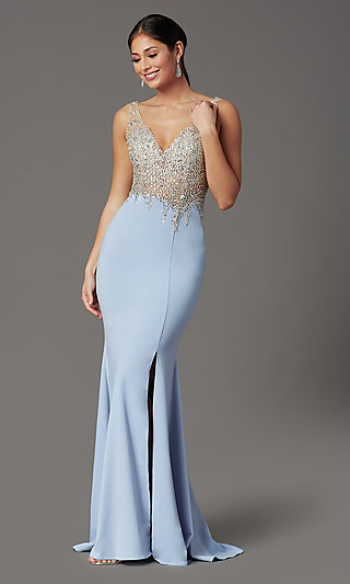 Beaded-Illusion-Bodice Long Formal Prom Dress