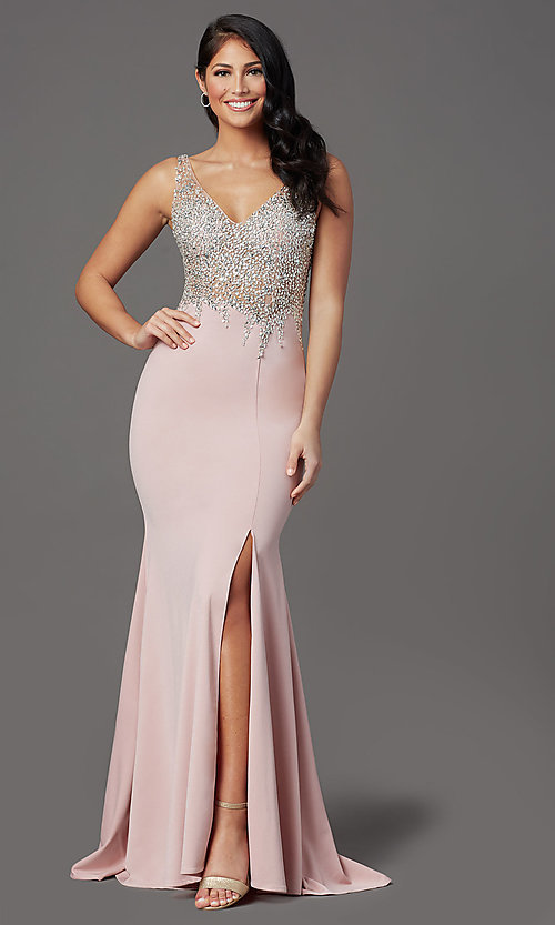 Image of beaded-illusion-bodice long formal prom dress. Style: SOI-W19150 Detail Image 3