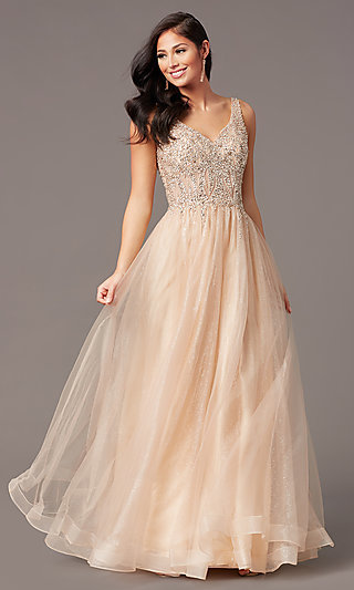 Embellished-Sheer-Bodice Long Tulle Prom Dress