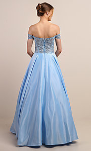 Image of embroidered-bodice long off-shoulder prom dress. Style: SOI-W19001 Detail Image 8