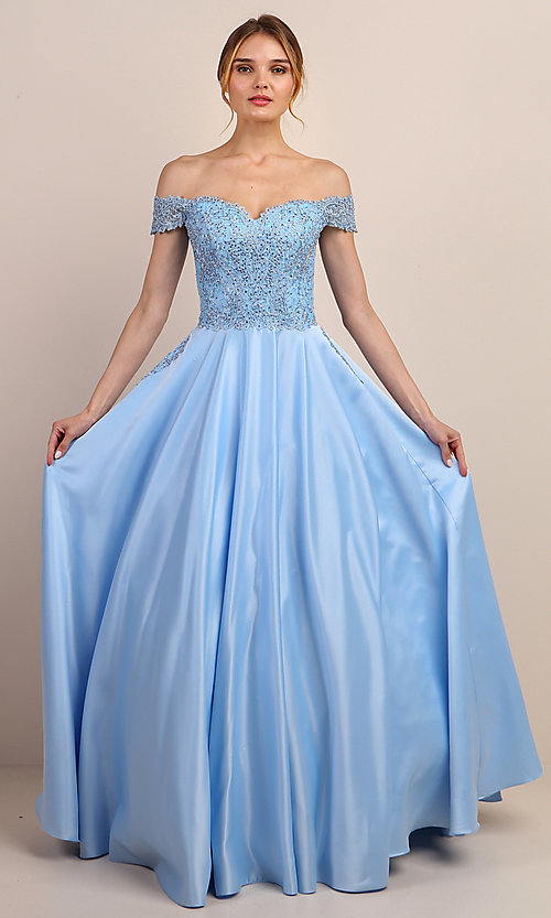 Image of embroidered-bodice long off-shoulder prom dress. Style: SOI-W19001 Detail Image 7