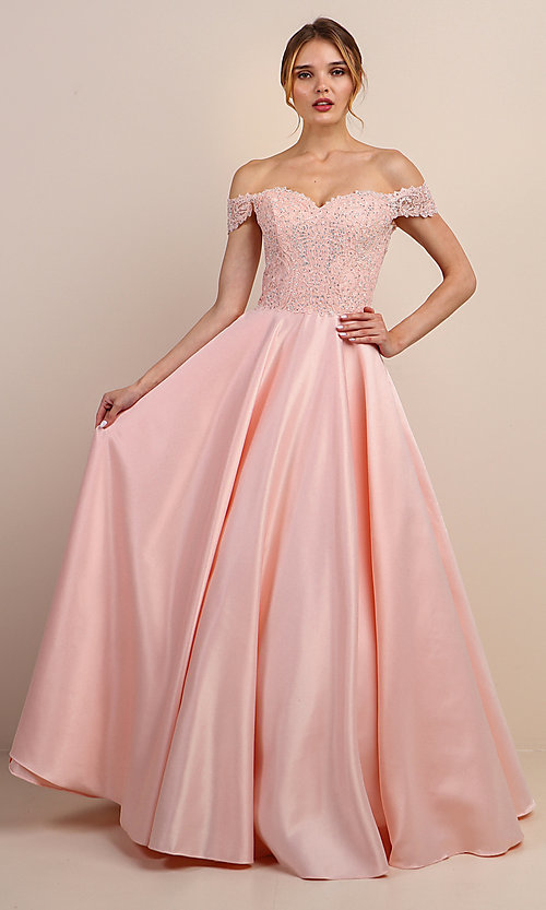 Image of embroidered-bodice long off-shoulder prom dress. Style: SOI-W19001 Detail Image 6