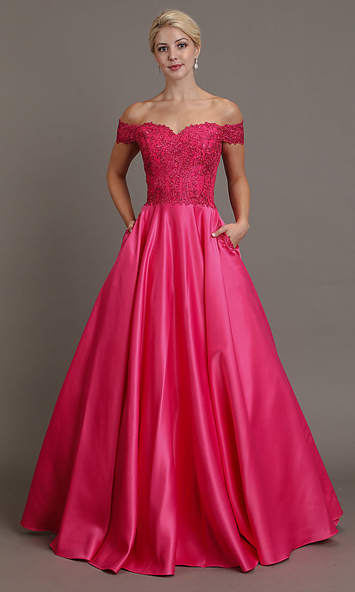 Image of embroidered-bodice long off-shoulder prom dress. Style: SOI-W19001 Detail Image 3