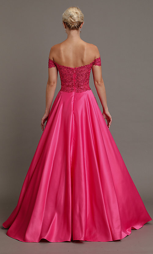 Image of embroidered-bodice long off-shoulder prom dress. Style: SOI-W19001 Detail Image 4