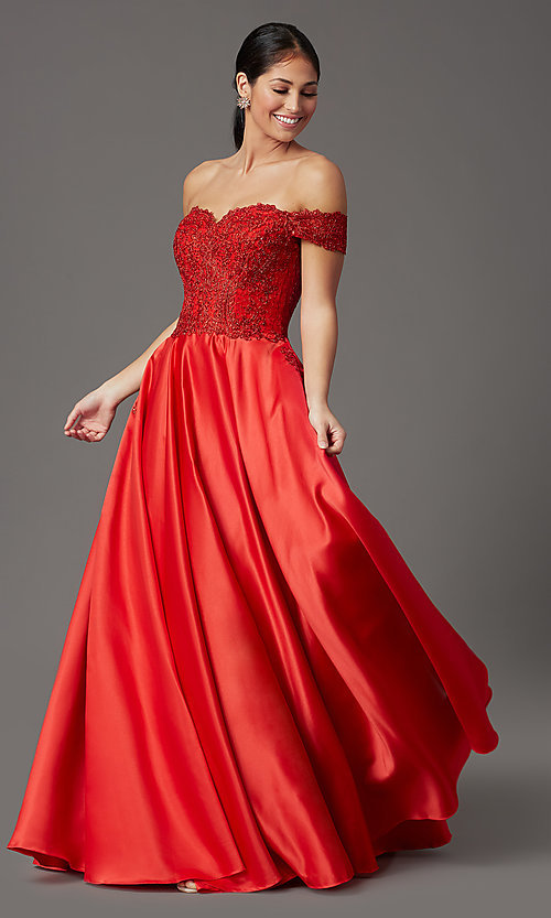 Image of embroidered-bodice long off-shoulder prom dress. Style: SOI-W19001 Front Image