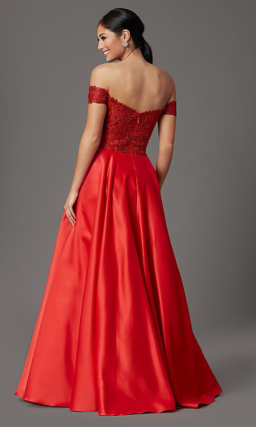 Image of embroidered-bodice long off-shoulder prom dress. Style: SOI-W19001 Back Image