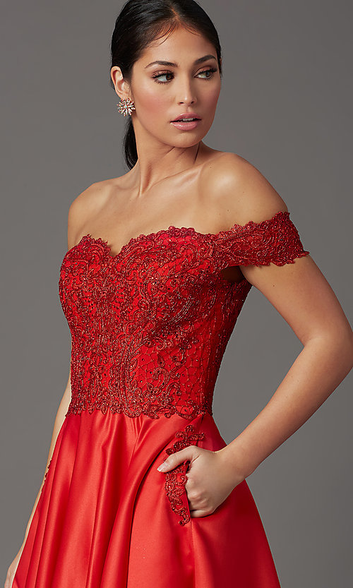 Image of embroidered-bodice long off-shoulder prom dress. Style: SOI-W19001 Detail Image 1