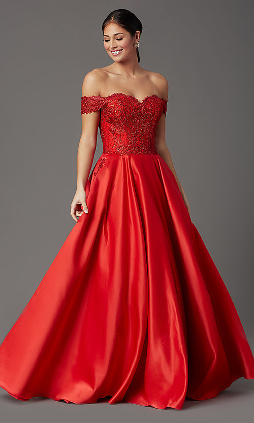 Image of embroidered-bodice long off-shoulder prom dress. Style: SOI-W19001 Detail Image 2