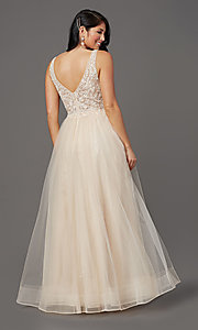 Image of glitter-tulle long sparkly formal prom dress. Style: SOI-W18943 Detail Image 4