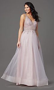 Image of glitter-tulle long sparkly formal prom dress. Style: SOI-W18943 Front Image