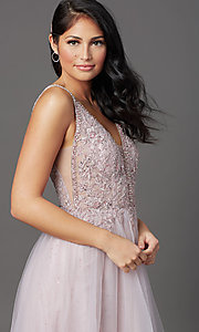 Image of glitter-tulle long sparkly formal prom dress. Style: SOI-W18943 Detail Image 2