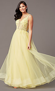 Image of glitter-tulle long sparkly formal prom dress. Style: SOI-W18943 Detail Image 6