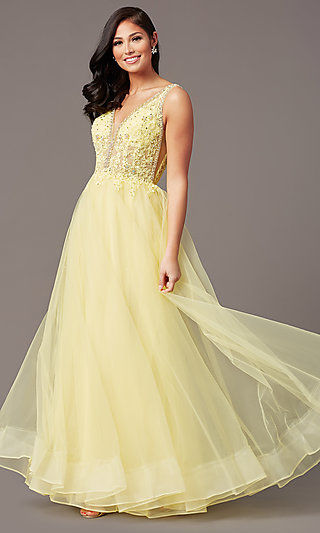 Glitter-Tulle Long Sparkly Formal Prom Dress