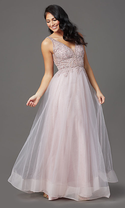 Image of glitter-tulle long sparkly formal prom dress. Style: SOI-W18943 Detail Image 1