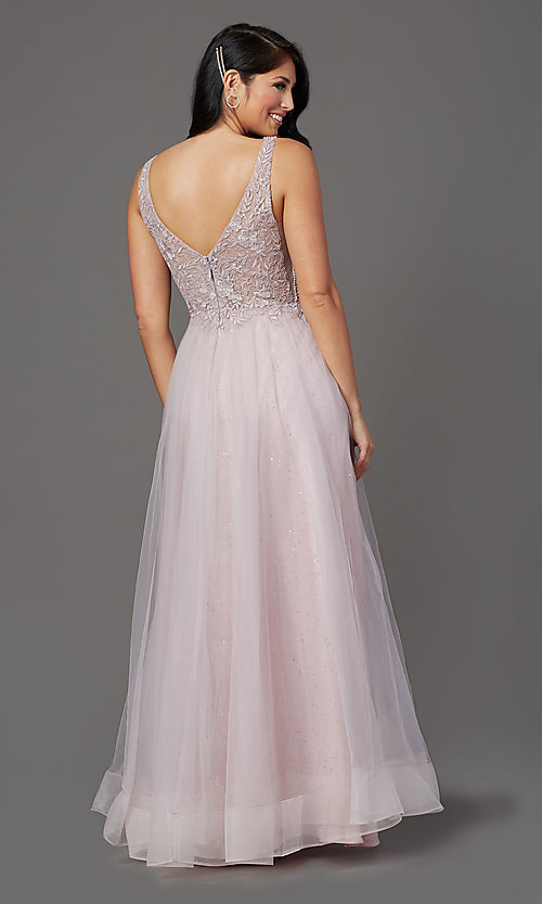 Image of glitter-tulle long sparkly formal prom dress. Style: SOI-W18943 Back Image