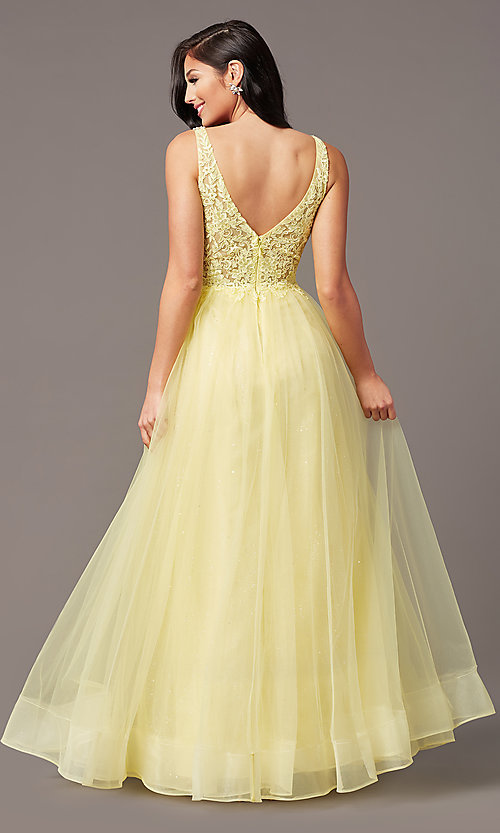 Image of glitter-tulle long sparkly formal prom dress. Style: SOI-W18943 Detail Image 7