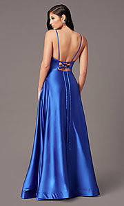 Image of satin v-neck long prom dress with pockets. Style: TE-PL-9135 Back Image