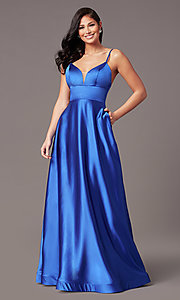 Image of satin v-neck long prom dress with pockets. Style: TE-PL-9135 Detail Image 2